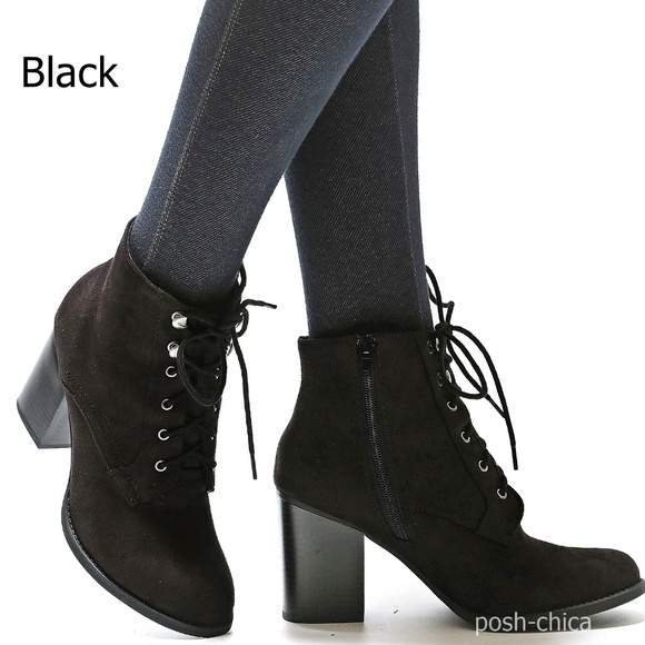Black Ankle Boots With Laces